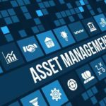 Asset management concept image with business icons and copyspace